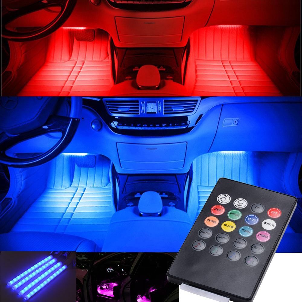 glow full color led interior car kit under dash foot well seats inside lighting ebay. Black Bedroom Furniture Sets. Home Design Ideas
