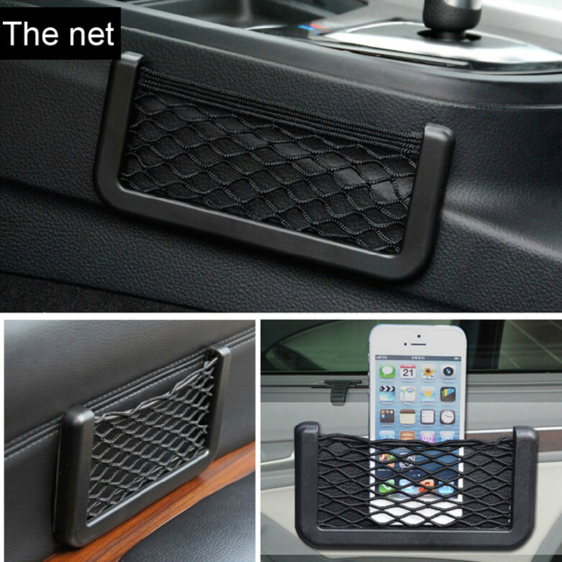 universal car door storage net resilient string bag phone coins pocket organizer. Black Bedroom Furniture Sets. Home Design Ideas