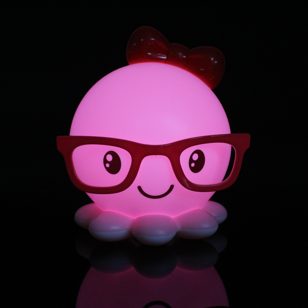 Pink Cute Octopus Usb Rechargeable Led Night Light Baby