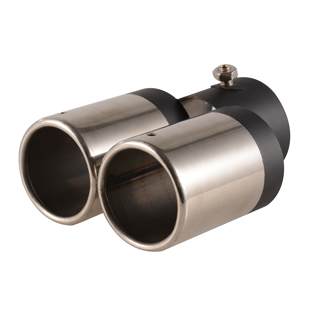 Double tailpipe exhaust muffler tail pipe tip inside