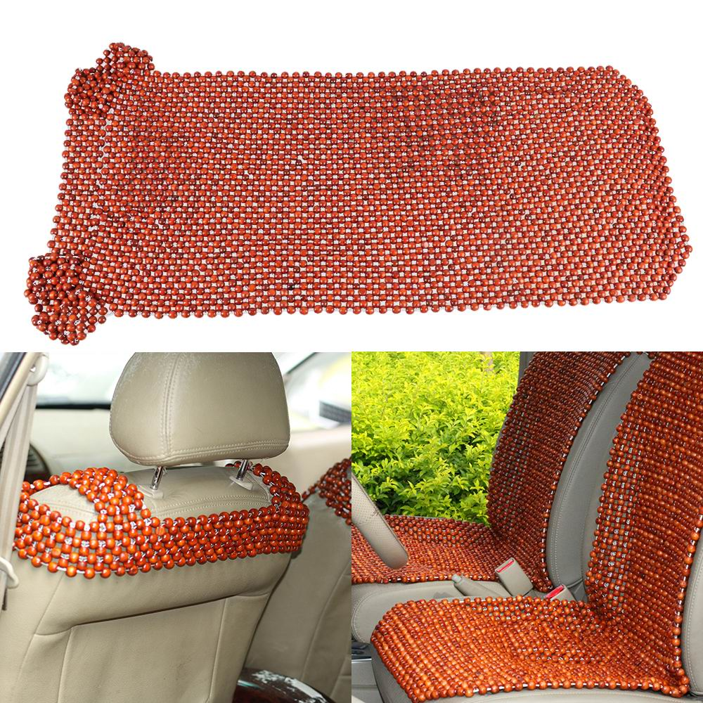 front seat wood wooden beaded massage back chair cover pad. Black Bedroom Furniture Sets. Home Design Ideas