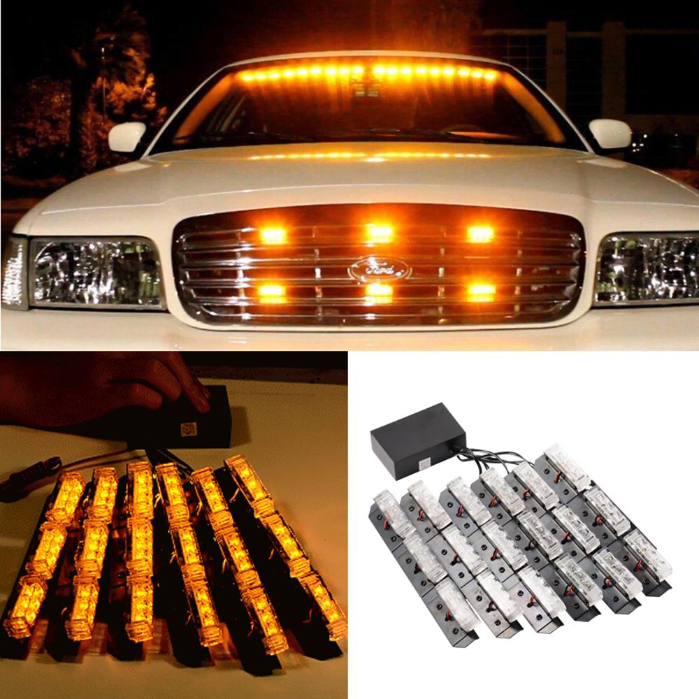 54 led car truck strobe emergency warning strobe lights bars deck dash. Black Bedroom Furniture Sets. Home Design Ideas