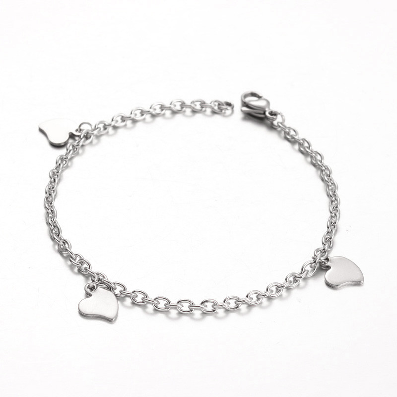 Strand 304 stainless steel heart charm bracelets stainless steel
