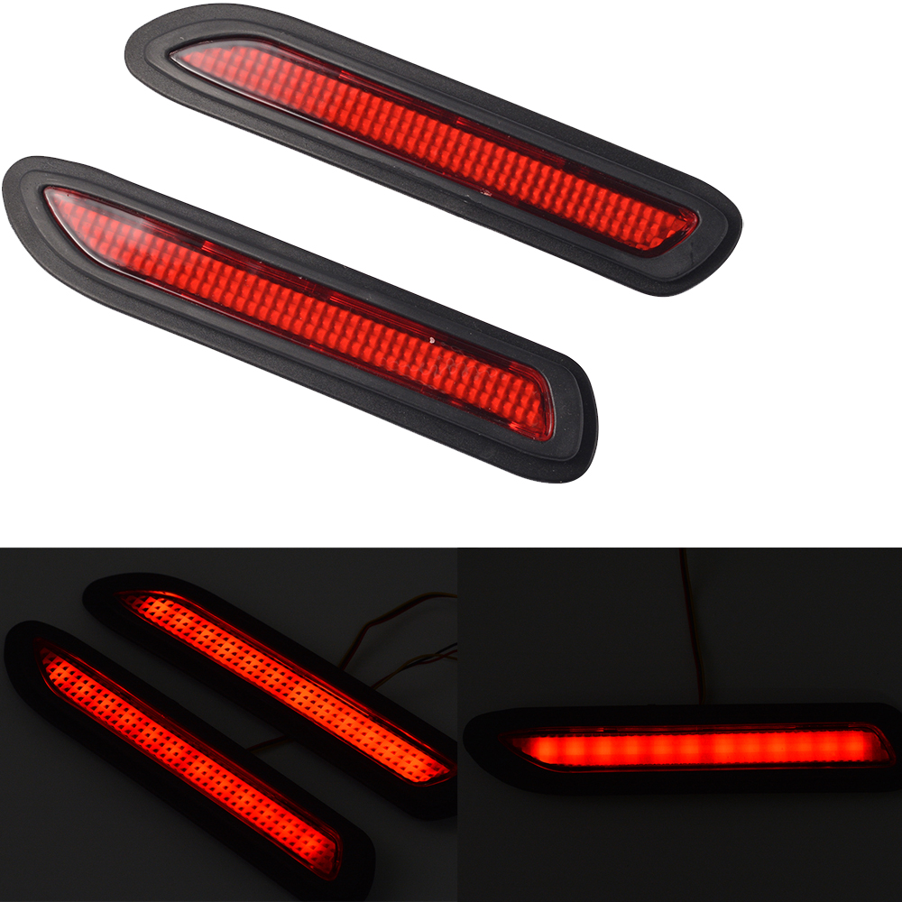 2 Universal Car Red Lens Led Bumper Reflectors Taillight