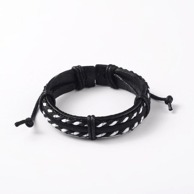 1pc diy adjustable unisex cowhide cord bracelets with cloth cord black